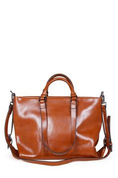 Ohan Brown Vintage Waxed Leather Handbag | Totes at DEZZAL Click on picture to purchase!