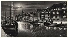 A postcard showing the river harbor by evening (with a full moon.) Jeff