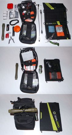 My Personal EDC: Includes nDur lifestraw, Gerber Crucial multi-tool, Goal Zero 7watt Solar Panel & Guide 10 AA & AAA Battery charger (also acts as a 10 watt hour USB batter pack). The Maxpedition FR-1 Pouch includes everything but the kitchen sink in it. Take a look :)