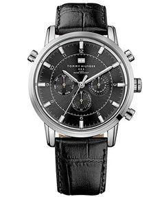 Tommy Hilfiger Watch, Men's Black Leather Strap 44mm 1790875