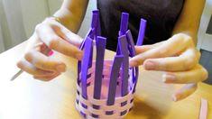 Manualidades del día de la madre: Cómo hacer una cesta con trenza de gom...