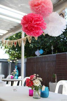 Outdoor party setup - pom poms