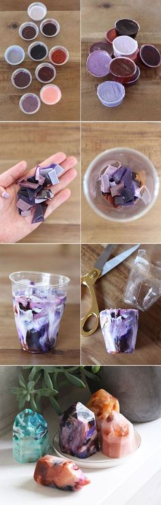 DIY Gemstone Soap Kit - gotta try this with melting crayons for decoration Cute Crafts, Diy And Crafts, Gem Crafts, Resin Crafts, Recycled Crafts, Craft Projects, Projects To Try, Ideias Diy, Diy Décoration
