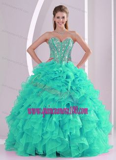 Fall Ball Gown Sweetheart Ruffles and Beaded Decorate Turquoise Quinceanera Gowns