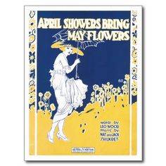 April Showers Bring May Flowers Song Sheet Music Post Cards #songsheets #postcards