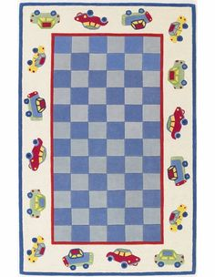 Blue and Ivory Cars Rug