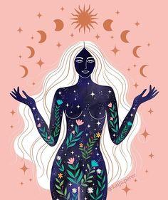 Art Et Illustration, Illustrations, Yoga Kunst, Art Hippie, Psychadelic Art, Goddess Art, Earth Goddess, Moon Art, Art Inspo