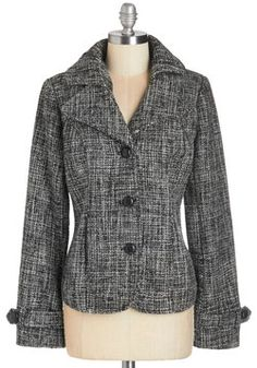 Everyday Influential Jacket. Whether on a workday or weekend afternoon, this black-and-white, woven jacket exudes a compelling sense of chic. #black #modcloth
