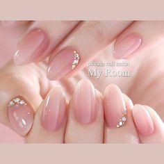 Rhinestone Nails, Bling Nails, Red Nails, Swag Nails, Hair And Nails, Pastel Nails, Japanese Nail Design, Japanese Nail Art, Cute Nails