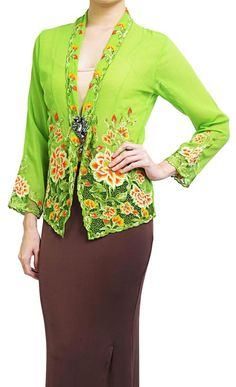 Lime Green & Chocolate Brown Nyonya Kebaya Note the collar
