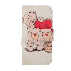Ich liebe dich & Bear magnetischer Schlag-Standplatz-TPU   PU-Leder Tasche für iPhone 5 / 5S