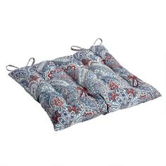 One of my favorite discoveries at ChristmasTreeShops.com: Paisley Blue All-Weather Tufted Square Chair Cushion