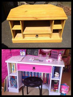 Wow, Check out this fantastic Repurpose Project! Keshia Hamilton converted this old TV Unit into a Desk/Vanity for her little girl!