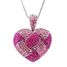 Pink Heart Made with Swarovski