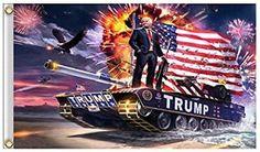 Trump Flag, Donald Trump on Tank 2020 Keep America Great, 3x5 Feet Printed Flag with Grommets Trump Flag, Sports Flags, Flag Banners, Wall Canvas, Fireworks, Donald Trump, Digital Prints