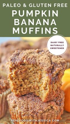 These Paleo Pumpkin Banana Muffins are easy to make perfect for fall. A delicious combination of two classic flavors that come together. Gluten free, dairy free, and naturally sweetened. Egg Free Recipes, Gluten Free Recipes For Breakfast, Herb Recipes, Allergy Free Recipes, Best Dessert Recipes, Paleo Recipes, Real Food Recipes, Baking Recipes, Healthy Breakfast Casserole