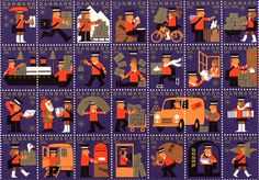 Old festive stamps from Denmark, on our shelves for Christmas.