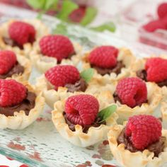 Chocolate and Raspberry Tartlets are phyllo cups filled with vegan chocolate pudding then topped with a raspberry
