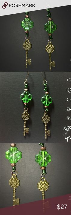Handmade Earrings Vintage Glass Clover Brass Key This is a pair of earrings I made using brass and titanium findings, vintage glass clover beads and brass vintage styled keys. They are slightly uneven in length, but hey, they are one of a kind! Handmade Jewelry Earrings