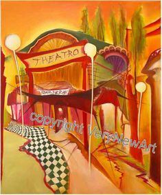 Original Oil Painting of the Artist Christin Lutze; Title: Theatro  Original Gemälde der Künstlerin Christin Lutze, Titel: Altes Fahrrad  available under http://verynewart.com/Christin-Lutze-Oil-Painting-Theatro  #kunst #art #oelgemaelde #oil painting