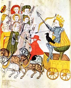 The nine Muses are seen here with their patron Apollo, who is sitting in his chariot and holding his bow and the arrow of the secret fire. The red colour (pl. 54) indicates the sulphur of the philosophers; the raven, the nigredo. The Tree of Life (in the chariot) is frequently associated with Apollo. Fulgentius metaforalis is a c. 1331 work by John Ridewall (Joannes Ridevallus) that interprets antique mythology (mainly based on Ovid) in a Christian way. The name is derived from Fabius…