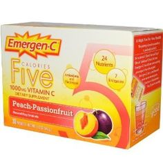 Emergen-c Vitamin C 1000 Mg Five Calories, Peach Passionfruit 30 Ea by Alacer. $7.10. Dietary Supplement. Feel the Good. Less Water = More Flavor. A High Five for Your Health!. The pairing of peach-passionfruit is positively perfect. Ages 14 and up, one packet up to 2 times per day. Empty contents into a glass, add 4-6 oz. of water, stir. For lighter, mix with move water.Flavored Fizzy Drink Mix.Antioxidants and Electrolytes.24 Nutrients.7 B Vitamins