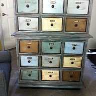 Finishing Touches on Dresser to Apothecary Cabi... Finally got the pulls and label holders to put the finishing touches on our dresser re-do. A $39 Thomasville Dresser Goo...
