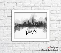 Printable Paris Watercolor DecorParis Skyline by eDesignss on Etsy