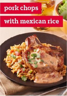 Pork Chops with Mexican Rice – Pork chops get a kick with a zesty, creamy cheesy sauce. Chili powder, cumin and salsa combine for a flavor punch, while the smooth comes from—where else?—Velveeta.