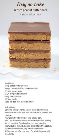 No bake peanut butter bars (Reeses)