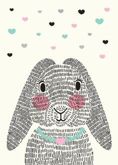 bunny rabbit with repeating line texture Lapin Art, Bunny Art, Cute Illustration, Art Plastique, Easter Crafts, Baby Art Crafts, Nursery Art, Cute Wallpapers, Art Lessons