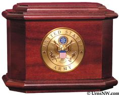 Urns Northwest  - Patriot Cremation Urn, $299.00 (http://urnsnw.com/patriot-cremation-urn/). Rosewood. Made in the USA. Choice of Army, Air Force, Navy, Marine Corps or Fire Department medallion.