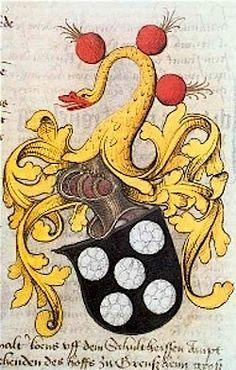 """Wappen der Familie Sickingen die """"5Schneeballen"""", aus dem Wappenbuch der Kurpfalz von 1471 (Die Rechte am Bild liegen beim Generallandesarchiv Karlsruhe). -- See also at: http://daten.digitale-sammlungen.de/bsb00007681/image_106 and http://daten.digitale-sammlungen.de/bsb00007681/image_208"""