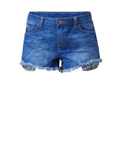 These versatile Blue Denim Drop Pocket Fray Hem Shorts work with vests, shirts and sweaters. #newlook #denim