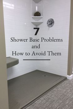 Remodel The 7 Biggest Blunders You Don't Want to Make Choosing a Shower Pan Check out these 7 shower base problems and how you can avoid them! Read this before you start your bathroom remodel! Bathroom Renos, Bathroom Renovations, Small Bathroom, White Bathroom, Bathroom Bin, Bathroom Showers, Shower Ideas Bathroom, Master Bathroom, Bathroom Makeovers