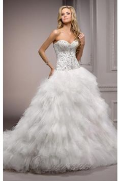Eye-catching White Ball Gown Sweetheart Corset Back Closure Floor-length Wedding Dress Layered Train With Crystals 00063