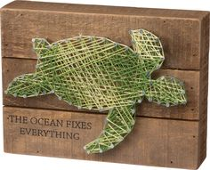 The Ocean Fixes Everything - Sea Turtle String Art Plank Board Box Sign - 10-in