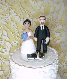 Custom wedding cake topper - pets, batman mask, bench, books, and fireman samples - pinned by pin4etsy.com