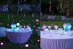 Suspendre des bâtonnets fluorescents, et offrez-en à vos invités. Eclairez votre jardin ainsi que vos verres avec des boules, cubes, et glaçons lumineux.  Piquez dans le gazon des bracelets agitateurs fluorescents. D'autres idées et produits lumineux fluo : http://www.vistaglo.com