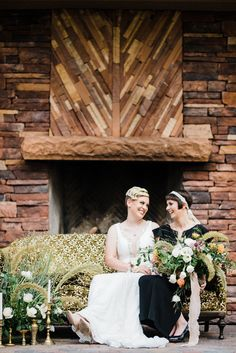 Brides on vintage couch    #wedding #engaged #weddingdetails #aislesociety #lgbt #samesexwedding