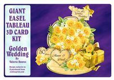 Giant Easel Tableau 3D Card Kit - Golden Wedding