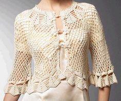 "Items similar to Blouse with collar ""Irish lace"" Lace top blouse, jacket crochet handmade , custom made . Shrug Bolero on Etsy Diy Crochet Cardigan, Gilet Crochet, Crochet Coat, Lace Cardigan, Crochet Clothes, Crochet Sweaters, Blog Crochet, Pull Crochet, Crochet Videos"