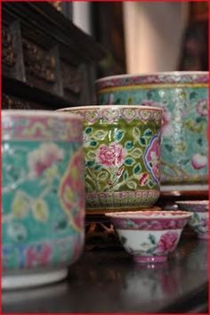 Peranakan Pots at the Intan in Singapore.    (photo by Leone Fabre)