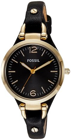 Amazon.com: Fossil Women's ES3148 Georgia Three-Hand Gold-Tone Stainless Steel Watch with Leather Band: Fossil: Clothing