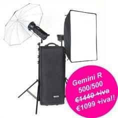 Kit Bowens Gemini R 500/500 un mulo da lavoro usato dai fotografi di tutto il mondo! Alimentabile sia da rete che da Travelpak Battery a soli €1.099 +iva invece di 1.440 +iva…