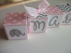 Use for decoration on table and be able to keep for room. Wooden+Name+Blocks++Elephants++Chevron+Pink+Gray+by+bitsyblocks,+$3.00