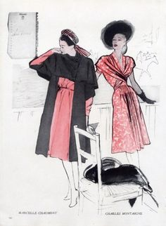 Marcelle Chaumont 1946 Charles Montaigne René Gruau Fashion Illustration