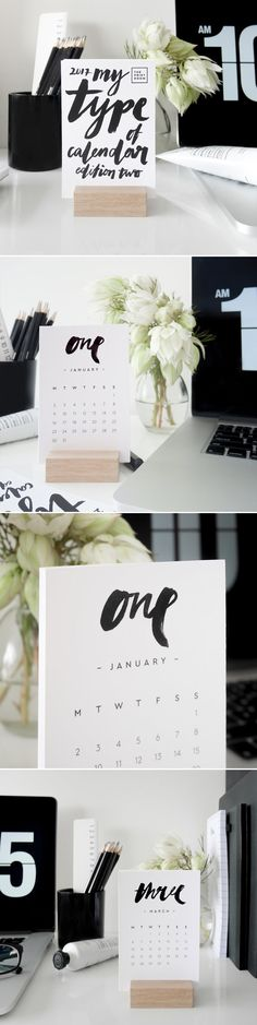 My Type of Calendar Edition 2 // 2017 Brush Type Desk Calendar | ThePrintRoomDesign