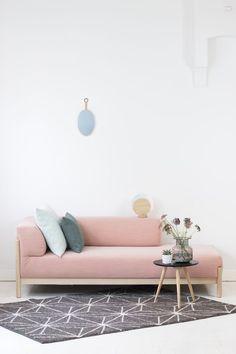 Picture taken by: Willeke Blom - FEST Amsterdam Blush Living Room, Pastel Living Room, Colourful Living Room, Living Room Sofa, Living Room Decor, Bedroom Decor, Sofa Design, Furniture Design, Room Wallpaper Designs