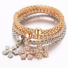 Tri Colored Flower Charm Bracelets
